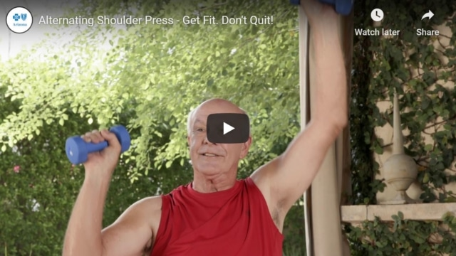 Alternating shoulder press with cans