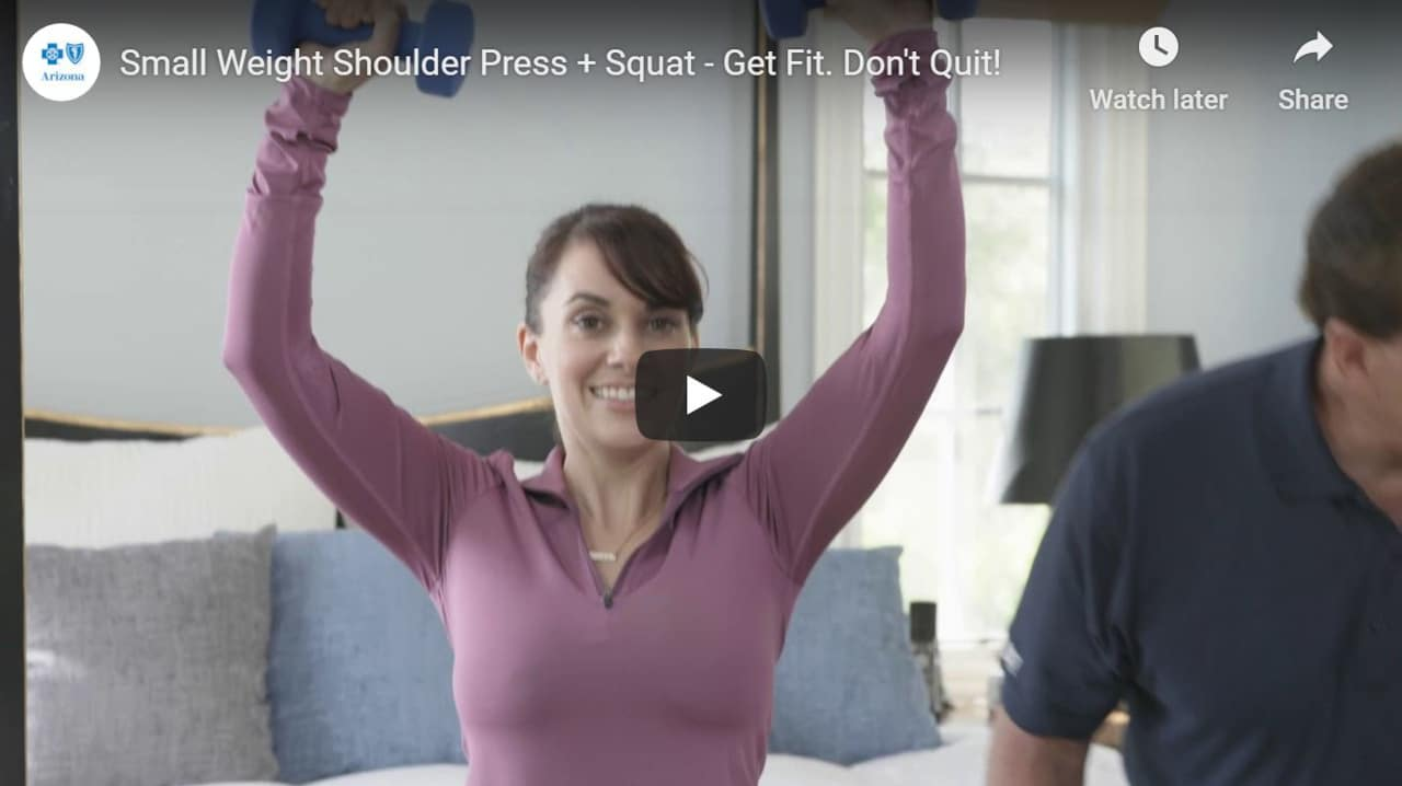 Small weight shoulder press with squat