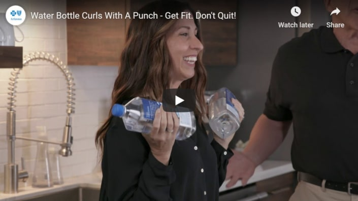 Water Bottle Curls with a punch